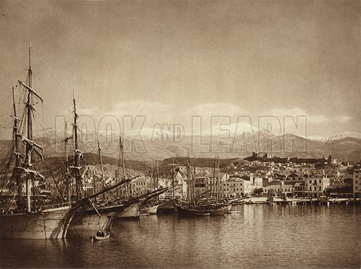 Patras, Harbour. Illustration for Griechenland by Hanns Holdt and Hugo Von Hofmannsthal (Ernst Wasmuth, c 1920).  Gravure printed.