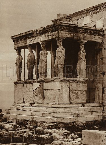Athens, Acropolis, Hall of the Caryatides of the Erechthelon. Illustration for Griechenland by Hanns Holdt and Hugo Von Hofmannsthal (Ernst Wasmuth, c 1920).  Gravure printed.