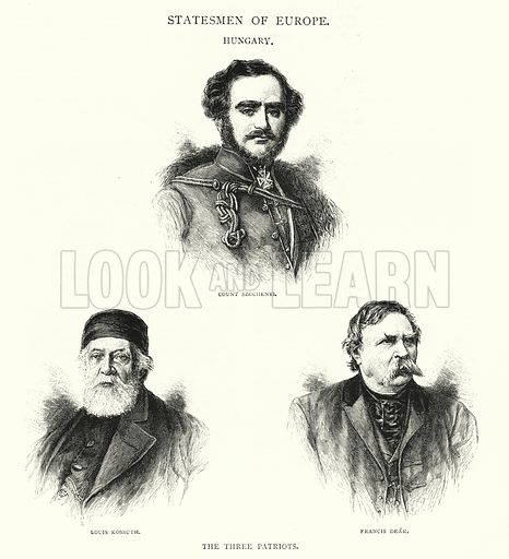 Statesmen of Europe, Hungary, the Three Patriots. Illustration for The Leisure Hour (1891).