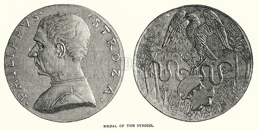 Medal of the Strozzi. Illustration for The Leisure Hour (1891).