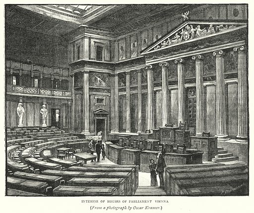 Interior of Houses of Parliament, Vienna. Illustration for The Leisure Hour (1891).