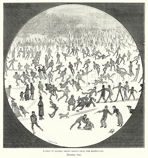 A Drop of London Water Drawn from the Serpentine, January 1891. Illustration for The Leisure Hour (1891).