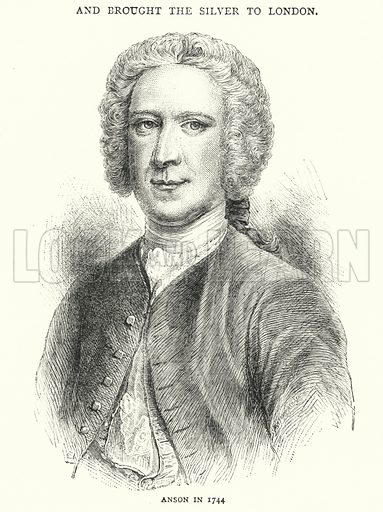 Anson in 1744. Illustration for The Leisure Hour (1891).