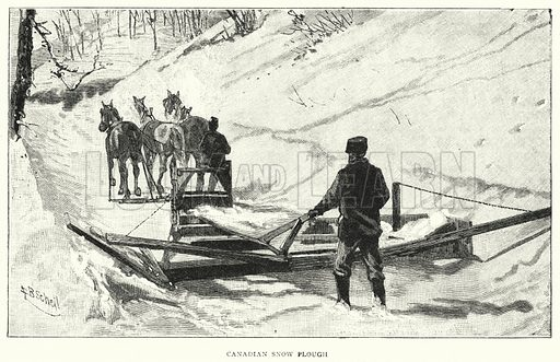 Canadian Snow Plough. Illustration for The Leisure Hour (1891).