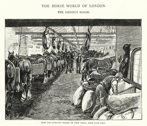 Road Car Company, Horses on First Floor, Farm Lane Yard. Illustration for The Leisure Hour (1892).