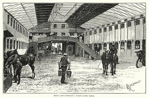 Road Car Company, Farm Lane Yard. Illustration for The Leisure Hour (1892).