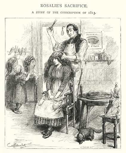 Rosalie's Scrifice, A Story of the Conscription of 1813. Illustration for The Leisure Hour (1892).