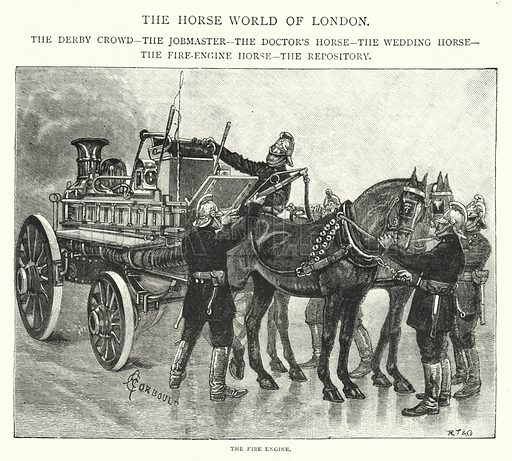 The Fire Engine. Illustration for The Leisure Hour (1892).