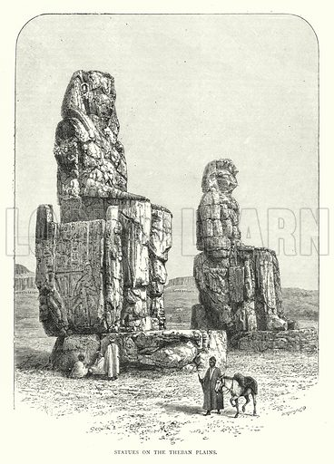 Statues on the Theban Plains. Illustration for The Leisure Hour (1892).