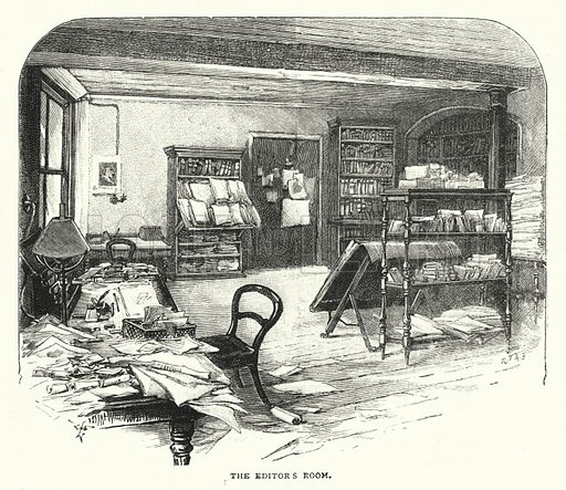 The Editor's Room. Illustration for The Leisure Hour (1892).