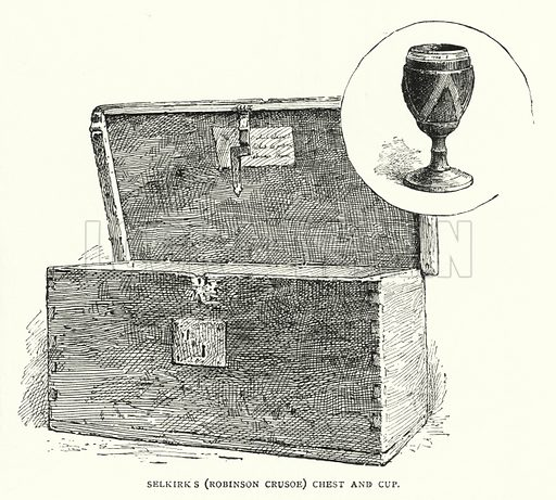 Selkirk's (Robinson Crusoe) Chest and Cup. Illustration for The Leisure Hour (1892).