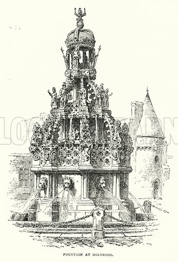 Fountain at Holyrood. Illustration for The Leisure Hour (1892).