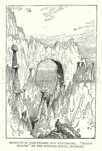 "Products of Rain-Erosion and Weathering, ""Earth-Pillars"" on the Sawatch Range, Colorado. Illustration for The Leisure Hour (1892)."