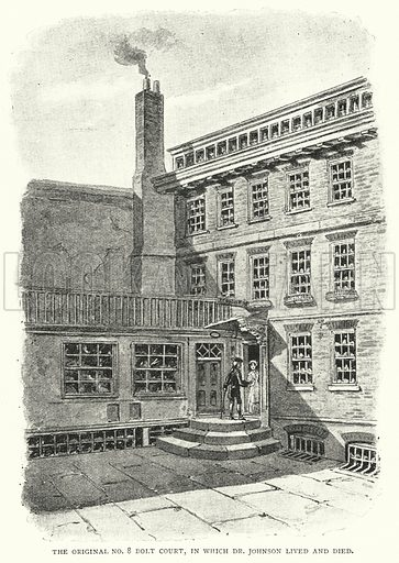 The Original No 8 Bolt Court, in Which Dr Johnson Lived and Died. Illustration for The Leisure Hour (1893).