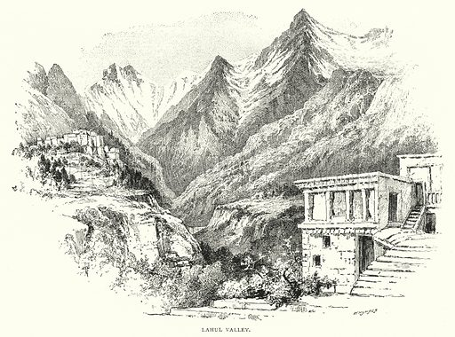 Lahul Valley. Illustration for The Leisure Hour (1893).