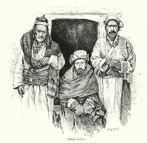 Three Gopas. Illustration for The Leisure Hour (1893).
