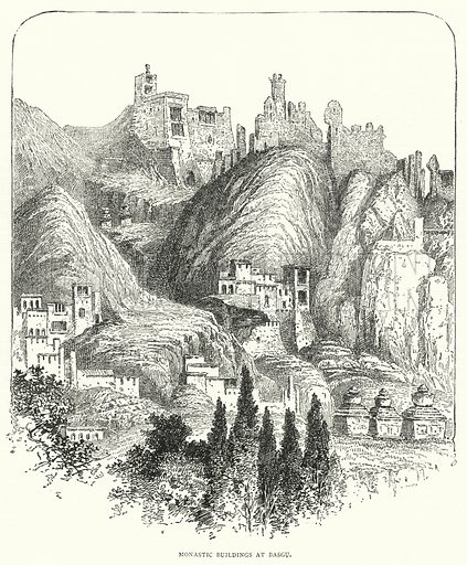 Monastic Buildings at Basgu. Illustration for The Leisure Hour (1893).