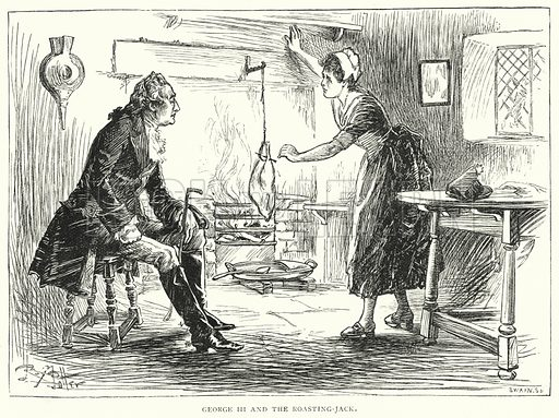 George III and the Roasting-Jack. Illustration for The Leisure Hour (1893).