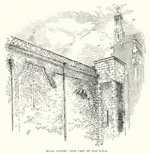Rolls Chapel, Side View of Old Wall. Illustration for The Leisure Hour (1893).