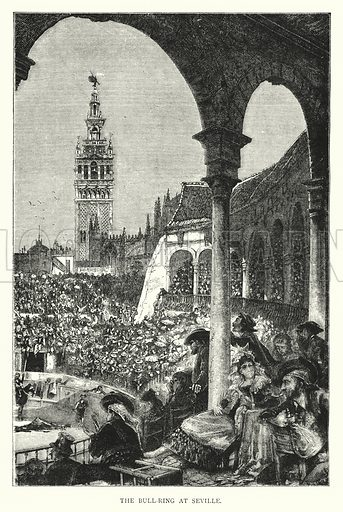 The Bull-Ring at Seville. Illustration for The Leisure Hour (1894).