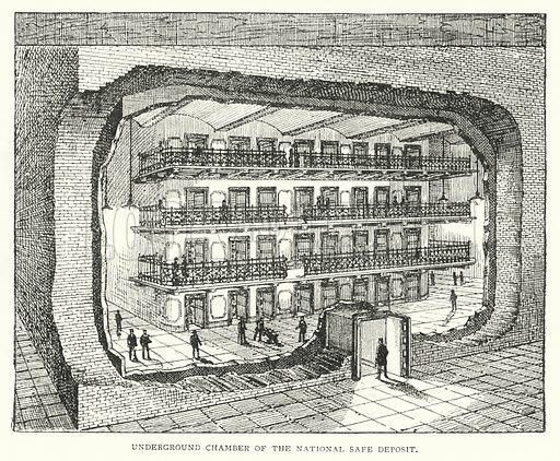 Underground Chamber of the National Safe Deposit. Illustration for The Leisure Hour (1894).