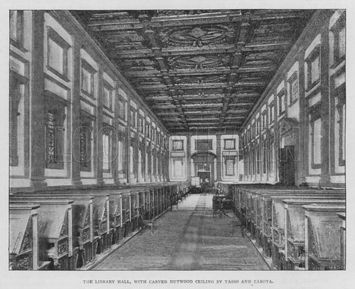 The Library Hall, with Carved Nutwood Ceiling by Tasso and Carota. Illustration for The Leisure Hour (1894).