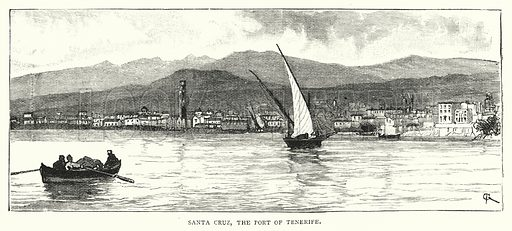 Santa Cruz, the Port of Tenerife. Illustration for The Leisure Hour (1894).