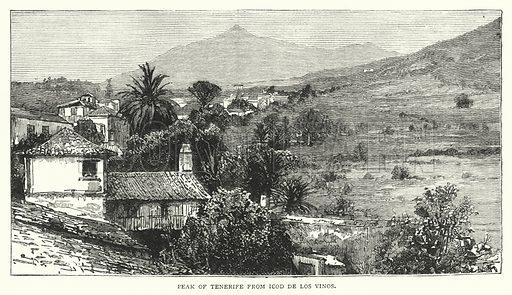Peak of Tenerife from Icod de los Vinos. Illustration for The Leisure Hour (1894).