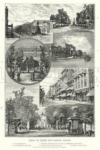 Views in Unter den Linden, Berlin. Illustration for The Leisure Hour (1894).
