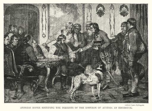 Andreas Hofer Receiving the Presents of the Emperor of Austria at Innsbruck. Illustration for The Leisure Hour (1894).