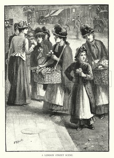 A London Street Scene. Illustration for The Leisure Hour (1894).
