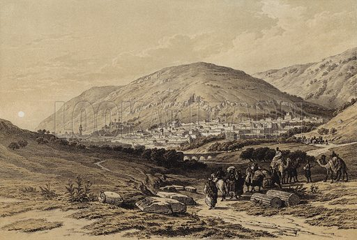 Nablous, the Ancient Shechem. Illustration for The Life of Christ by F W Farrar (Cassell, c 1880).
