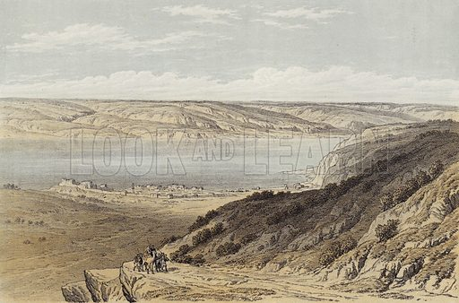 The Sea of Tiberias looking towards Bashan. Illustration for The Life of Christ by F W Farrar (Cassell, c 1880).