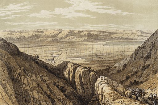 Descent upon the Valley of Jordan. Illustration for The Life of Christ by F W Farrar (Cassell, c 1880).