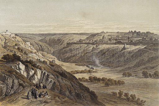 Jerusalem from the Mount of Olives. Illustration for The Life of Christ by F W Farrar (Cassell, c 1880).