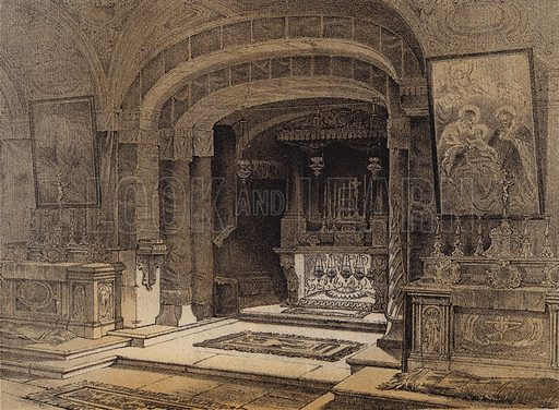 Shrine of the Annunciation, Nazareth. Illustration for The Life of Christ by F W Farrar (Cassell, c 1880).
