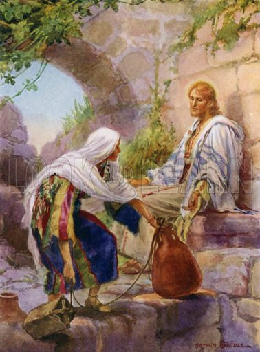The woman of Samaria at the well. Illustration for The Little Bible, An Anthology (Oxford, 1935).