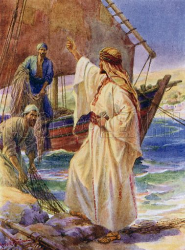 Jesus calling Peter and Andrew. Illustration for The Little Bible, An Anthology (Oxford, 1935).