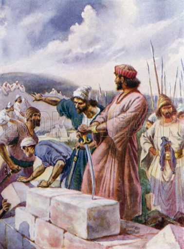 Nehemiah building the wall. Illustration for The Little Bible, An Anthology (Oxford, 1935).