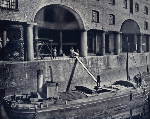 Salthouse Dock Warehouses. Illustration for Pictures from the Post, being a selection from illustrations which have appeared in the Liverpool Daily Post, c 1933.  No photographer credits.