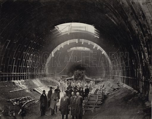 The Mersey Tunnel in the Raw. Illustration for Pictures from the Post, being a selection from illustrations which have appeared in the Liverpool Daily Post, c 1933.  No photographer credits.