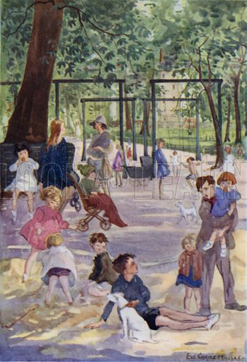 The playground in the park. Illustration for The London Child by Evelyn Sharp (John Lane The Bodley Head, 1927).