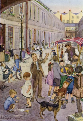 A summer evening in East London. Illustration for The London Child by Evelyn Sharp (John Lane The Bodley Head, 1927).