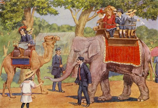 "Rides on the elephant and camel. Illustration for A Nursery Book of Science by ""The Cockiolly Bird"" (T Nelson, c 1920)."