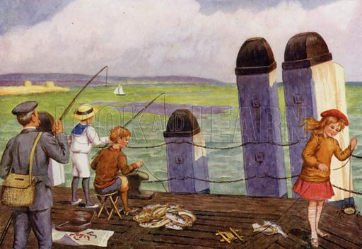"""Fishing from the pier. Illustration for A Nursery Book of Science by """"The Cockiolly Bird"""" (T Nelson, c 1920)."""