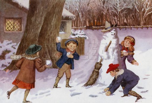 """Snow man and snowballs. Illustration for A Nursery Book of Science by """"The Cockiolly Bird"""" (T Nelson, c 1920)."""