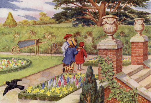 "The garden in Spring. Illustration for A Nursery Book of Science by ""The Cockiolly Bird"" (T Nelson, c 1920)."