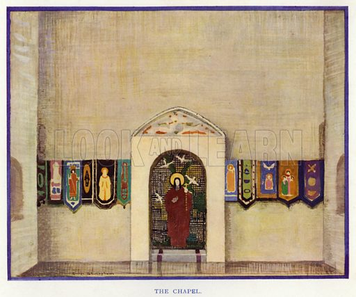 The Chapel. Illustration for The Duenna, a comic opera in three acts by Richard Brinsley Sheridan, with an introduction by Nigel Playfair, and illustrated with the designs for costumes and scenery used in the production at the Lyric Theatre Hammersmith and other drawings by George Sheringham (Constable, 1925).