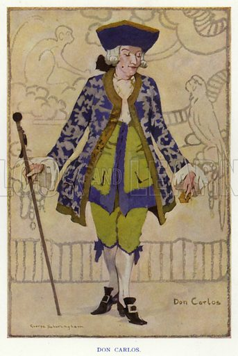 Don Carlos. Illustration for The Duenna, a comic opera in three acts by Richard Brinsley Sheridan, with an introduction by Nigel Playfair, and illustrated with the designs for costumes and scenery used in the production at the Lyric Theatre Hammersmith and other drawings by George Sheringham (Constable, 1925).