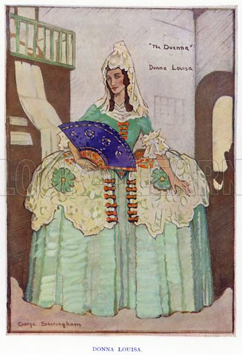 Donna Louisa. Illustration for The Duenna, a comic opera in three acts by Richard Brinsley Sheridan, with an introduction by Nigel Playfair, and illustrated with the designs for costumes and scenery used in the production at the Lyric Theatre Hammersmith and other drawings by George Sheringham (Constable, 1925).